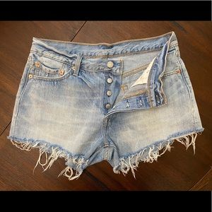 Levi 501 light wash distressed shorts